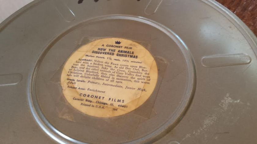 How the Animals Discovered Christmas film reel container [scored at Trading Post by friend and fellow crafter]