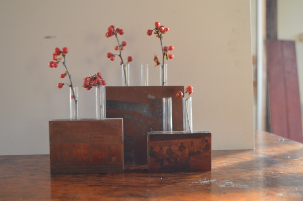 vintage printers blocks + salvaged test tubes