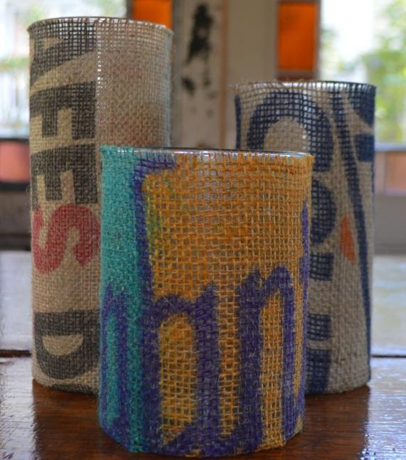 vases from potato sacks